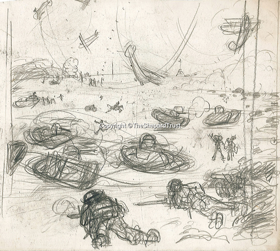 BNPS.co.uk (01202 558833)Pic: TheShepardTrust/BNPS<br /> <br /> ***Images only to be used in relation to the book***<br /> <br /> An undated sketch of the Somme hastily drawn mid-battle.<br /> Poignant never-seen-before sketches that Winnie the Pooh illustrator E.H. Shepard drew from the First World War trenches have been published for the first time after they were discovered in a time-capsule box.The incredible archive of more than 100 sketches only came to light when a trunk belonging to Shepard that had not been opened for almost 100 years was stumbled upon by researchers.Shepard, who also illustrated Kenneth Grahame's Wind in the Willows, was a soldier in WW1's bloodiest battles and constantly made drawings of his experiences and encounters on the battlefield.The astonishing collection has now been published for the first time in a new book called Shepard's War, published by Michael O'Mara Books, that commemorates the artist's time on the front line.