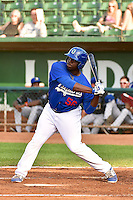 Justin Chigbogu (56) of the Ogden Raptors at bat against the Missoula Osprey in Pioneer League action at Lindquist Field on August 4, 2014 in Ogden, Utah.  (Stephen Smith/Four Seam Images)