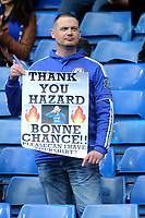 A Chelsea fan holds up a banner saying Thank You Eden Hazard during Chelsea vs Watford, Premier League Football at Stamford Bridge on 5th May 2019