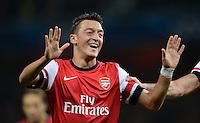 FUSSBALL   CHAMPIONS LEAGUE   VORRUNDE     SAISON 2013/2014    Arsenal London - SSC Neapel   01.10.2013 Mesut Oezil (Arsenal) bejubelt seinen Treffer zum 1:0