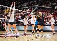 STANFORD, CA - October 12, 2018: Meghan McClure, Jenna Gray, Holly Campbell, Morgan Hentz, Kate Formico at Maples Pavilion. No. 2 Stanford Cardinal swept No. 21 Washington State Cougars, 25-15, 30-28, 25-12.