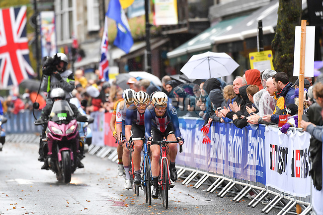 Quinn Simmons of USA on the front during the Men's Junior Road Race of the UCI World Championships 2019 running 148km from Richmond to Harrogate, England. 26th September 2019.<br /> Picture: Simon Wilkinson/SWpix.com | Cyclefile<br /> <br /> All photos usage must carry mandatory copyright credit (© Cyclefile | Simon Wilkinson/SWpix.com)