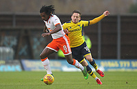 Blackpool's Sessi D'Almeida battles with Oxford United's Jack Payne<br /> <br /> Photographer Mick Walker/CameraSport<br /> <br /> The EFL Sky Bet League One - Rochdale v Blackpool - Monday 1st January 2018 - Spotland Stadium - Rochdale<br /> <br /> World Copyright &copy; 2018 CameraSport. All rights reserved. 43 Linden Ave. Countesthorpe. Leicester. England. LE8 5PG - Tel: +44 (0) 116 277 4147 - admin@camerasport.com - www.camerasport.com