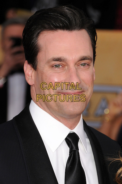 Jon Hamm.Arrivals at the 19th Annual Screen Actors Guild Awards at the Shrine Auditorium in Los Angeles, California, USA..27th January 2013.SAG SAGs headshot portrait black white shirt tie suit.CAP/ADM/BP.©Byron Purvis/AdMedia/Capital Pictures