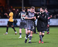 Lincoln City's Harry Anderson, left, and Tom Pett celebrate at the end of the game<br /> <br /> Photographer Andrew Vaughan/CameraSport<br /> <br /> The EFL Sky Bet League Two - Cambridge United v Lincoln City - Saturday 29th December 2018  - Abbey Stadium - Cambridge<br /> <br /> World Copyright © 2018 CameraSport. All rights reserved. 43 Linden Ave. Countesthorpe. Leicester. England. LE8 5PG - Tel: +44 (0) 116 277 4147 - admin@camerasport.com - www.camerasport.com