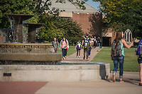 NWA Democrat-Gazette/ANTHONY REYES &bull; @NWATONYR<br /> Students walk on campus Wednesday, Aug. 26, 2015 near the fountain in front of the Cathedral of the Ozarks at John Brown University in Siloam Springs. It was the first day for classes at the school.