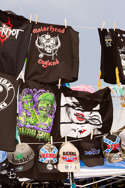 May 7, 2016. Concord, North Carolina. <br />  Several booths were set up to see merchandise.<br />  The 2016 Carolina Rebellion was held over May 6-8 next to the Charlotte Motor Speedway and featured over 50 bands including headliners Lynyrd Skynyrd, The Scorpions, Five Finger Death Punch, Disturbed, and Rob Zombie.