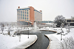Embassy Suites Hotel and Thrasher Fountain in snow on Christmas Day Dec. 25, 2010.  Bob Gathany Photographer