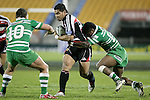 Niva Ta'auso has the attention of Matty James & Simeli Tuiteci during the Air New Zealand rugby game between Counties Manukau Steelers & Manawatu, played at Mt Smart Stadium on the 22nd of September 2006. Counties Manukau 25 - Manawatu 25.