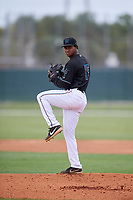 GCL Marlins pitcher Yeremin Lara (15) during a Gulf Coast League game against the GCL Astros on August 8, 2019 at the Roger Dean Chevrolet Stadium Complex in Jupiter, Florida.  GCL Marlins defeated GCL Astros 5-4.  (Mike Janes/Four Seam Images)