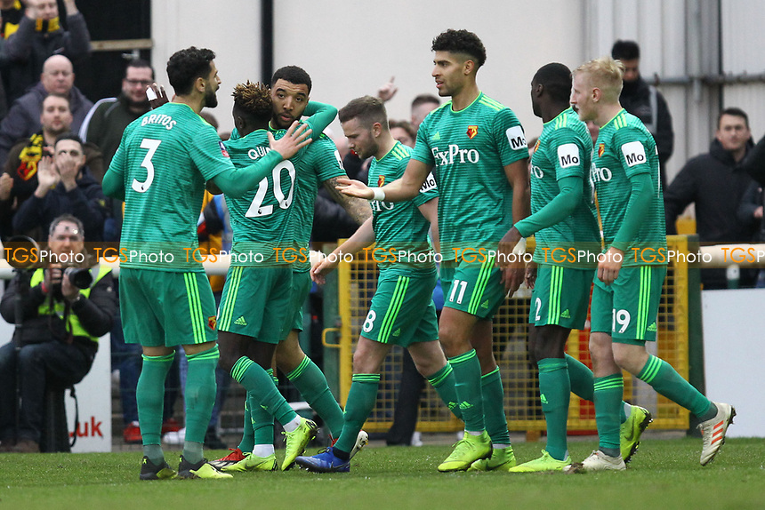 Watford celebrate their second goal scored by Troy Deeney (3rd left) during Woking vs Watford, Emirates FA Cup Football at The Laithwaite Community Stadium on 6th January 2019