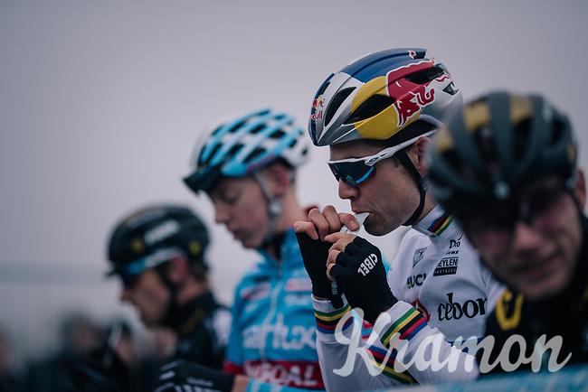 CX World Champion Wout Van Aert (BEL/Cibel-Cebon) fueling up at the race start<br /> <br /> CX World Cup Koksijde 2018