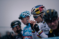 CX World Champion Wout Van Aert (BEL/Cibel-Cebon) fueling up at the race start<br /> <br /> CX World Cup Koksijde 2018