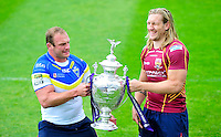 Picture by Simon Wilkinson/SWpix.com - 02/07/2012 - Challenge Cup Semi Final Preview Pictures , Leeds v Wigan and Warrington v Huddersfield -It's MIne... Garreth Carvell and Eorl Crabtree- copyright picture.. simon wilkinson.. simon@swpix.com ..07811 267 706