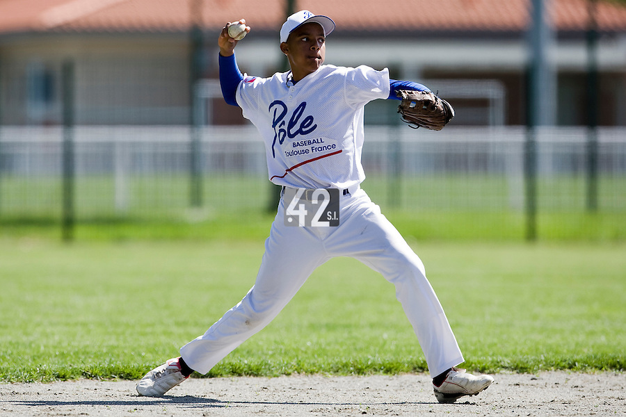 30 April 2008: Andy Paz of France takes infield practice during the first of seven 2008 MLB European Academy Try-out Sessions throughout Europe, at Stade Kandy Nelson Ball Park, in Toulouse, France. Try-out sessions are run by members of the Major League Baseball Scouting Bureau with assistance from MLBI staff.