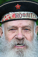 Moscow, Russia, 09/05/2012..A naval veteran as Russian World War Two veterans and well-wishers gather in Gorky Park during the countrys annual Victory Day celebrations.