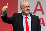 © Joel Goodman - 07973 332324 . 24/09/2016 . Liverpool , UK . JEREMY CORBYN gives his victory speech at the Labour Party leadership declaration in the campaign between Jeremy Corbyn and Owen Smith , at the Liverpool Arena and Convention Centre ahead of the party's 2016 Conference . Photo credit : Joel Goodman
