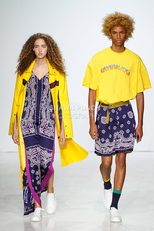 Models walk runway in outfits from the General Idea Spring Summer 2018 collection by Bumuk Choi, at Skylight Clarkson Square on July 13, 2017; during New York Fashion Week: Men's Spring Summer 2018.