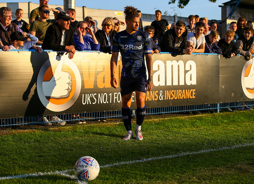 Leeds United's Kalvin Phillips takes a corner kick<br /> <br /> Photographer Alex Dodd/CameraSport<br /> <br /> Football Pre-Season Friendly - Guiseley v Leeds United - Thursday July 11th 2019 - Nethermoor Park - Guiseley<br /> <br /> World Copyright © 2019 CameraSport. All rights reserved. 43 Linden Ave. Countesthorpe. Leicester. England. LE8 5PG - Tel: +44 (0) 116 277 4147 - admin@camerasport.com - www.camerasport.com