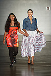 designer Alisha Desai walks runway with model for the close of her Alisha Desai collection fashion show, at Cope NYC, on October 10, 2019, during Fashion Week Brooklyn Spring Summer 2020.