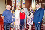 Jack O'Sullivan from Bouleenshere NS received  his confirmation on Friday in Ballyheigue.  L to r: Tommy James, Martina Madden, Fiona and Eamon O'Sullivan, Josie James and Liam Brophy.