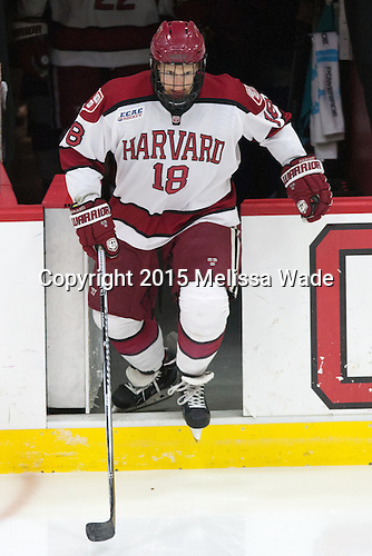 Mike Seward (Harvard - 18) - The Harvard University Crimson defeated the Brown University Bears 4-3 to sweep their first round match up in the ECAC playoffs on Saturday, March 7, 2015, at Bright-Landry Hockey Center in Cambridge, Massachusetts.