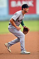 Augusta GreenJackets third baseman Jacob Gonzalez (18) during a game against the Asheville Tourists at McCormick Field on August 20, 2018 in Asheville, North Carolina. The GreenJackets defeated the Tourists 2-1. (Tony Farlow/Four Seam Images)