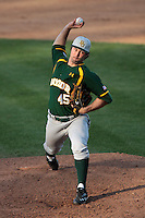 Kolt Browder #45 of the Baylor Bears pitches against the UCLA Bruins at Jackie Robinson Stadium on February 25, 2012 in Los Angeles,California. UCLA defeated Baylor 9-3.(Larry Goren/Four Seam Images)