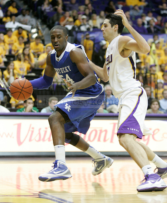 Junior forward Patrick Patterson attempts to drive the baseline against LSU at Pete Maravich Assembly Center on Saturday, Feb. 6, 2010. Photo by Scott Hannigan | Staff