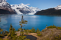 View across Barry Arm and Harriman Fjord to the Chugach mountains, Cascade and Barry glaciers, Prince William Sound, southcentral, Alaska.