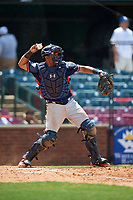 Rome Braves catcher Carlos Martinez (19) throws the ball back to the pitcher during a game against the Lexington Legends on May 23, 2018 at Whitaker Bank Ballpark in Lexington, Kentucky.  Rome defeated Lexington 4-1.  (Mike Janes/Four Seam Images)