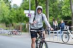 07.07.2020, Trainingsgelaende am wohninvest WESERSTADION,, Bremen, GER, 1.FBL, Werder Bremen - der Tag nach Heidenheim, im Bild<br /> <br /> <br /> Joshua Sargent (Werder Bremen #19) kommt mit dem RAD<br /> <br /> <br /> Foto © nordphoto / Kokenge