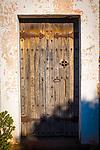 Door of the 15-16th century Chapel of Sant Jaume de la Mata, in Mura, near the Coll d'Estenalles in Parc Natural de Sant Llorenç del Munt i l'Obac, Barcelona, Catalonia.