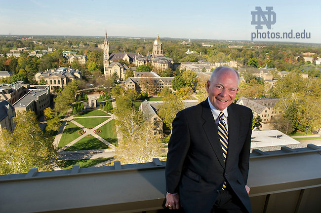 October 14, 2011;  Joe Kernan on the roof of the Hesburgh Library at the University of Notre Dame. Photo by Barbara Johnston/University of Notre Dame..From shortstop to Vietnam to Governor, then back to South Bend.