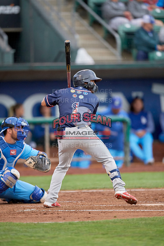 Bryan Torres (1) of the Rocky Mountain Vibes at bat against the Ogden Raptors at Lindquist Field on July 4, 2019 in Ogden, Utah. The Raptors defeated the Vibes 4-2. (Stephen Smith/Four Seam Images)