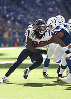 Houston Texans OLB Jadeveion Clowney #90 in action during an NFL football game between the Houston Texans and the Indianapolis Colts, Sunday, Sept. 30, 2018 in Indianapolis. (Photo by Michael Zito/AP Images for Panini)