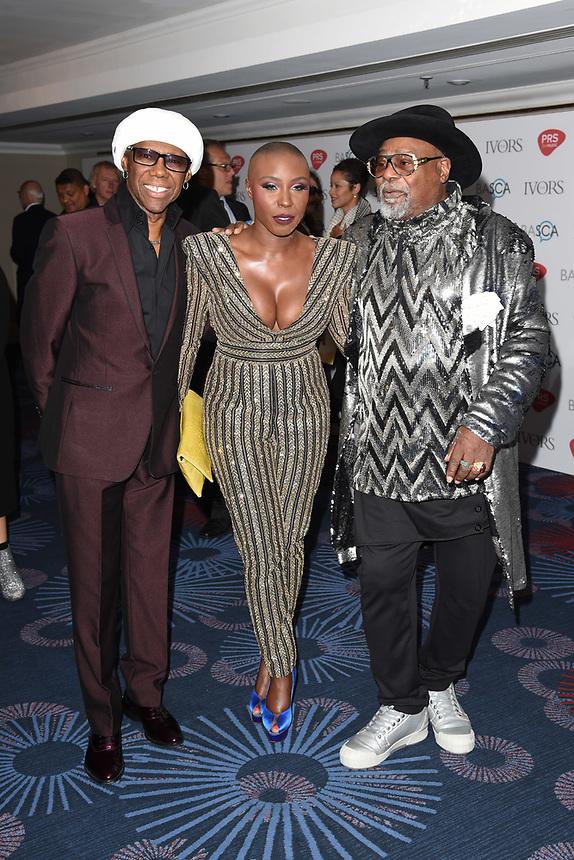 Nile Rodgers, Laura Mvula and George Clinton<br /> at The Ivor Novello Awards 2017, Grosvenor House Hotel, London. <br /> <br /> <br /> ©Ash Knotek  D3267  18/05/2017