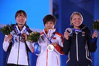 OLYMPICS: SOCHI: Medal Plaza, 13-02-2014, Short Track, Ladies' 500m, Seung-Hi Park (KOR), Jianrou Li (CHN), Arianna Fontana (ITA), ©photo Martin de Jong