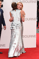 "Julia Stiles and Alicia Vikander<br /> arrives for the ""Jason Bourne"" premiere at the Odeon Leicester Square, London.<br /> <br /> <br /> ©Ash Knotek  D3139  11/07/2016"