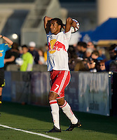 Roy Miller of the Red Bulls prepares to throw a ball during the game against the Earthquakes at Buck Shaw Stadium in Santa Clara, California.  San Jose Earthquakes defeated New York Red Bulls, 4-0.