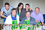 Denis Healy, Kilcummin, who launched his book Kerry Sporting History in Recitation and Ballads with his family in Darby O'Gills on Friday night Mai Godfrey. Back row: Con, Sharon, Martin and Austin Godfrey