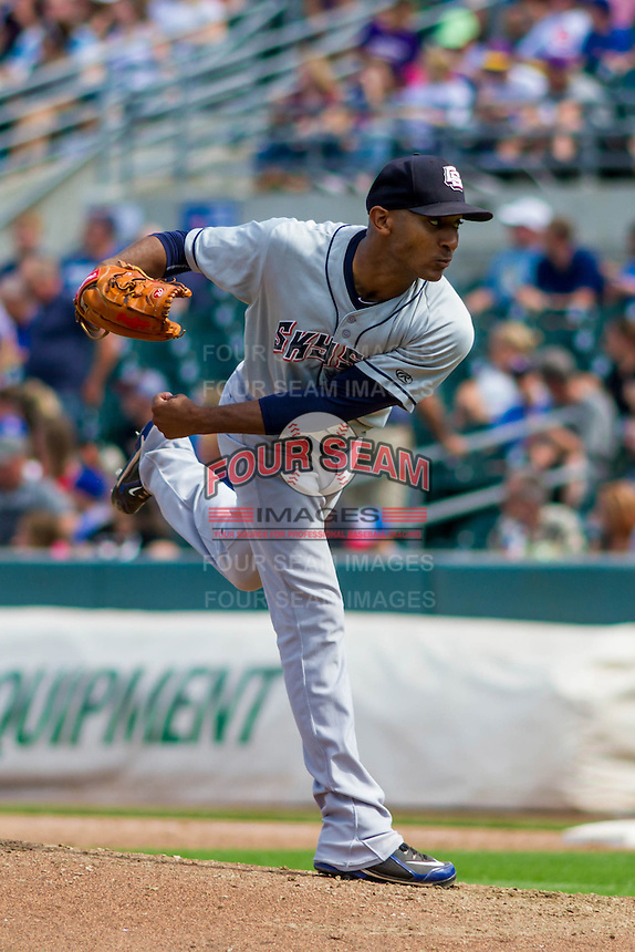 Colorado Springs Sky Sox pitcher Sam Freeman (15) delivers a pitch during a game against the Iowa Cubs on September 4, 2016 at Principal Park in Des Moines, Iowa. Iowa defeated Colorado Springs 5-1. (Brad Krause/Four Seam Images)