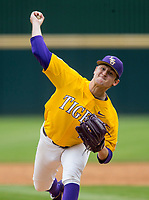 NWA Democrat-Gazette/BEN GOFF @NWABENGOFF<br /> Landon Marceaux pitches for LSU in the 5th inning vs Arkansas Saturday, May 11, 2019, at Baum-Walker Stadium in Fayetteville.