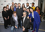 Sheri Wilner, Morgan Gould, Deborah Taychun, Eric Micha Holmes, Sam Salmond, Oliver Houser, Janine McGuire, Hunter Bird, Arri Lawton Simon, Jeremy J. King, Keelay Gipson and Riti Sachdeva with Laurence O'Keefe, Michael Korie and Diana Son attend the reception for the 2018 Presentation of New Works by the DGF Fellows on October 15, 2018 at the Playwrights Horizons Theatre in New York City.
