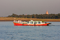 Myanmar, Burma, near Bagan.  Passenger Boat on the Ayeyarwady River, Late Afternoon.