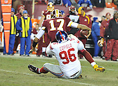 Landover, MD - December 21, 2009 -- New York Giants defensive tackle Barry Cofield (96) sacks Washington Redskins quarterback Jason Campbell (17) in the fourth quarter at FedEx Field in Landover, Maryland on Monday, December 21, 2009.  The Giants won the game 45 - 12..Credit: Ron Sachs / CNP.(RESTRICTION: NO New York or New Jersey Newspapers or newspapers within a 75 mile radius of New York City)
