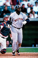 Mo Vaughn of the Boston Red Sox plays in a baseball game at Edison International Field during the 1998 season in Anaheim, California. (Larry Goren/Four Seam Images)