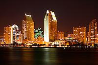 Downtown San Diego skyline at night from Coronado Island, California.