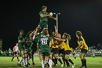 A line out during the Greene King IPA Championship match between Ealing Trailfinders and London Irish Rugby Football Club  at Castle Bar, West Ealing, England  on 1 September 2018. Photo by David Horn.