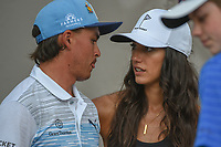 Rickie Fowler (USA) chats with his fiancee, Allison following day 3 of the Valero Texas Open, at the TPC San Antonio Oaks Course, San Antonio, Texas, USA. 4/6/2019.<br /> Picture: Golffile | Ken Murray<br /> <br /> <br /> All photo usage must carry mandatory copyright credit (&copy; Golffile | Ken Murray)